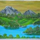 Vintage Folk Art Naive Western Painting Grand Tetons Snake River Wyoming Austin
