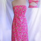 Deadstock NOS Lilly Pulitzer Dress Strapless Bustier Empire Pink Palm Trees 2