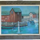 Painting Gloucester Mass 64 Waterfront Rockport Marine Vintage Modernist F Lutz