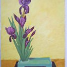 Folk Naive Vintage Painting  Still Life Irises Flowers Floral Botanical Long