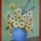 Vintage Southern Painting Still Life Vonda Alabama Black Artist Daisy Blue Pot