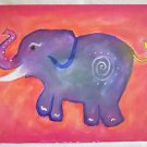 Elephant Folk Vintage Naive Painting Baby Girl  Adorably Decorated Hot Pink JB