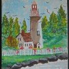 Vintage Folk Art Painting Child Feeds Gulls Maine Lighthouse Rocky Coast  Hall