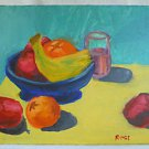 Folk Art Outsider Naive Vintage Painting Still Life Fruits Bright Sunny By Rose