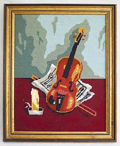 Musical Vintage Needlepoint Violin Sheet Music Bow Candle Still Life Regency