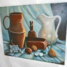 Antique Painting Still Life Table Culinary Onion Lime Pottery Herb Tulk Blue