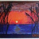 Folk Naive Painting Sunrise Over Ocean Seascape Moody Fiery Orange Gonzalez