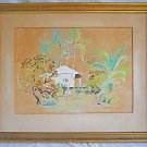 Vintage Mid Century Modern Naive Folk  Tropical Conch Cottage Painting Kathy 65