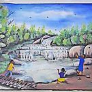 Southern Folk Naive Vintage Painting Black Kids Fishing  Waterfall Junior Herard
