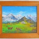 Fredy Sigg Original  Painting Vintage 1982 Swiss Alps Cows Pasture Landscape
