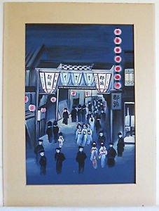 Japanese Vintage Original Painting Watercolor Nightlife Busy Street Scene Geisha