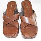 Via Spiga Monster Platform Wedge Sandals Cut Out Brown Leather Embellished 9M