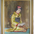 Vintage Painting Beautiful Geisha Reading Red Gold Large Hollywood Regency Lily