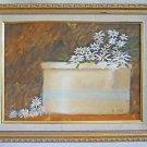 Naive Folk Vintage Painting Still Life Daisies Stoneware Crock Floral S Carp