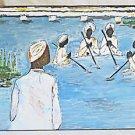 Vintage Folk Art Naive Outsider Baha'i Painting Water Ritual Baptism Homor JG