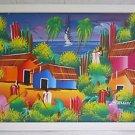 Vintage Original Haitian Painting  Farmers Tools Ocean Boats Cottages Ballik