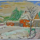 Folk Art Naive Vintage Painting Winter at the Mill Snow Winter Farm Eb 1950s