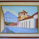 Vintage Painting Agua Volcano Guatemala Latin America Central Colonial Tuyuc