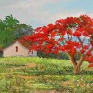 Vintage Painting Cuba Countryside Plein Air Landscape Impressionist Huge Taungo