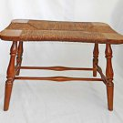 Antique Vintage Stool Rush Seat Bench Country Colonial Primitive Old Surface