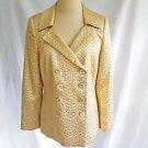 Akris Blazer Jacket Deadstock Gold Lamé Metallic Silk Evening Lame NOS Texture10