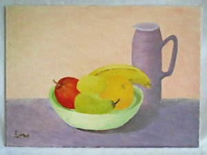 Folk Naive Vintage Painting Still Life Fruits Jug Purple Pear Lemon Orange Long