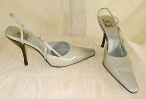 Rodolphe Menudier Slingback Pumps Shoes High Pin Heel Gray Patent Leather 40/10