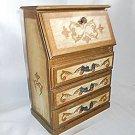 Vintage Italian Tole Music Box Miniature Drop Front Desk Jewelry Wood Gilt Red