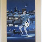 Japanese Vintage Original Painting Watercolor Nightlife Man Lit Lantern Dog Moon