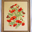 Vintage Needlework Poppies Flowers Butterflies Botanical Poppy Floral Framed