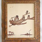 Owls Vintage Folk Art Drawing Ink Tiny Conch House Over Tropical Lagoon Phillips