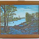 Texas Bluebonnet Vintage Painting Mary Booth Tyler Tx Hill Cabin River Framed