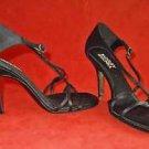 T Bar Badgley Mischka Black Satin Sandals Shoes Stiletto Twisted Cage 37.5