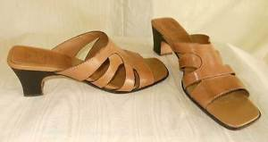 Cole Haan Shoes Cage Sandals Buckskin Leather Stacked Shaped Wood  9.5AA