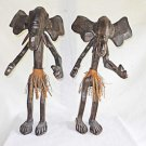 Elephant Man Men Vintage Pair African Wood Carving Large 21 inches Tribal Art