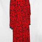 Vintage  Nipon Boutique Red Wool Print Dress Deadstock Fit Flare Bombshell 12