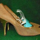 Vintage 60s Gold Stiletto Shoes Pumps Chain Mail Metallic Mesh 4.5B Stylepride
