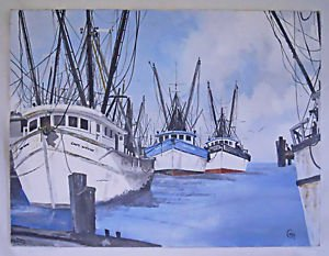 Vintage Marine Painting Fishing Trawlers Cannery Row California Modernist Carey