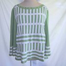 Deadstock St John Sport XL Wool Sweater Grommet Lime White Stripe Tunic NOS