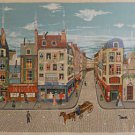 Eugene Valentin Latour Signed Numbered Lithograph Paris France Scene Framed