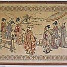Vintage Needlework Japanese Traditional Scene Fine Fashion Details Large Framed