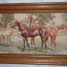 Kentucky Antique Horse Painting Landscape 1930s Textile Race Equine Quilt Puff
