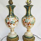 Pair Vintage Hand Painted Regency Classical Lamps Botanical Leaf Green Gold