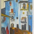 Vintage Mid Century Modern Painting Pete LaCorte 65 Arab Street Scene Donkey