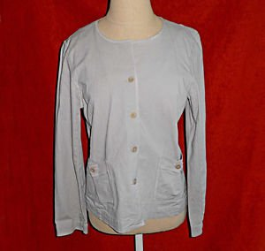 Deadstock Eileen Fisher Tunic Jacket Petite PM Beige Cotton Boxy Pockets NOS
