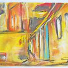 Vintage Abstract Modernist Original Watercolor Painting Colonial Buildings D