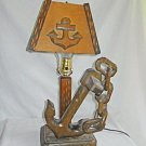 Sailor Marine Vintage Folk Art Lamp and Shade Wood Anchor Chain Whittled