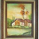 Naive Italian Landscape Vintage Painting Modernist Farm Cypress Nelusco Sarti