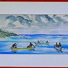 Hawaii Vintage Watercolor Painting Ocean Canoes Fish Traps Watermen M Howarth