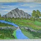 Original Folk Art Painting Western Grand Tetons Snake River Wyoming Austin